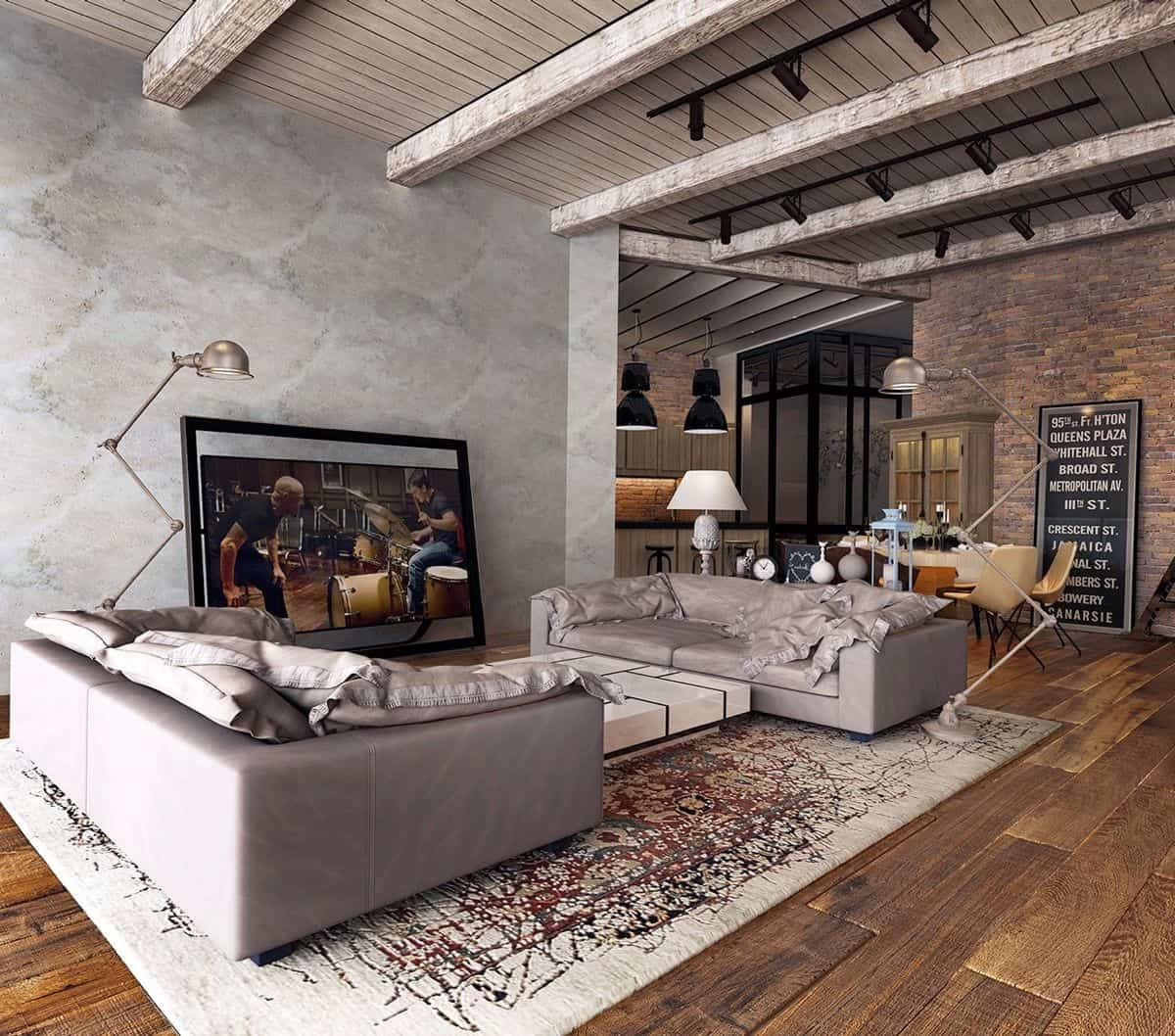 concrete living room Modern rustic decor with an enchanting twist