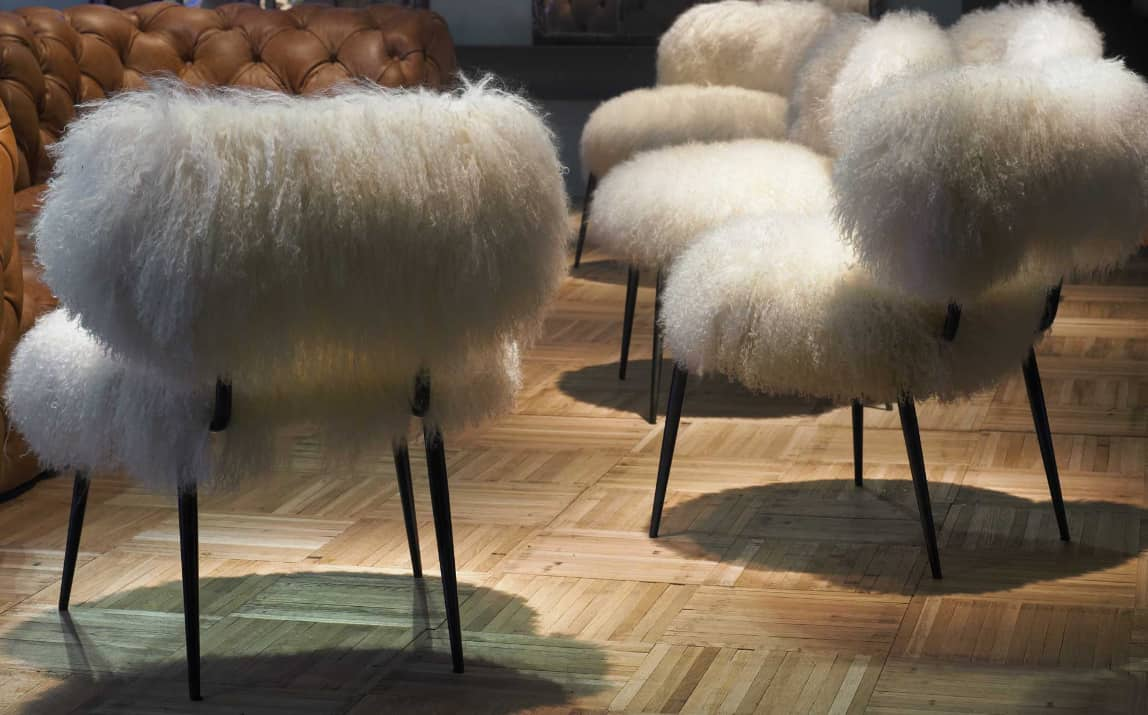 white armchair cover chaise lounge chairs indoor faux fur furniture from baxter by paola navone: nepal