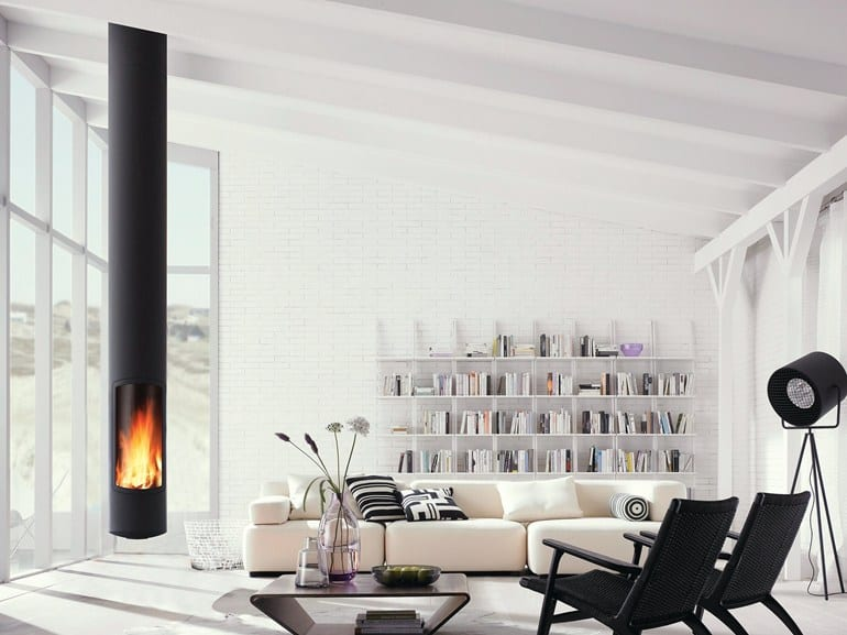 Skinny Suspended Fireplace by Focus has Low Environmental Impact