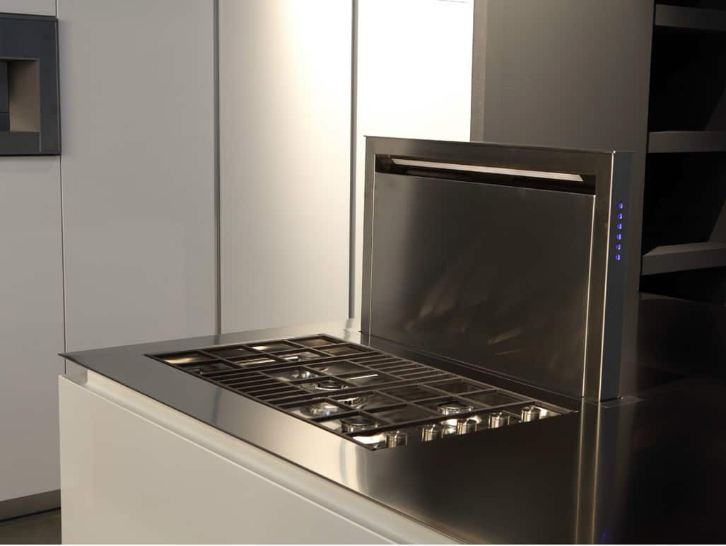 Kitchen with BuiltIn Griddle Cooktop and Downdraft Vent