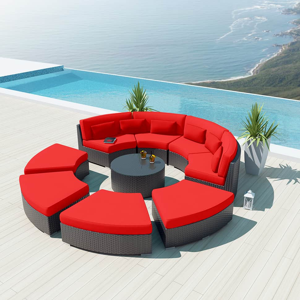 round wicker chair solid oak dining table and chairs uk 9-piece outdoor sectional sofa set - modavi by uduka