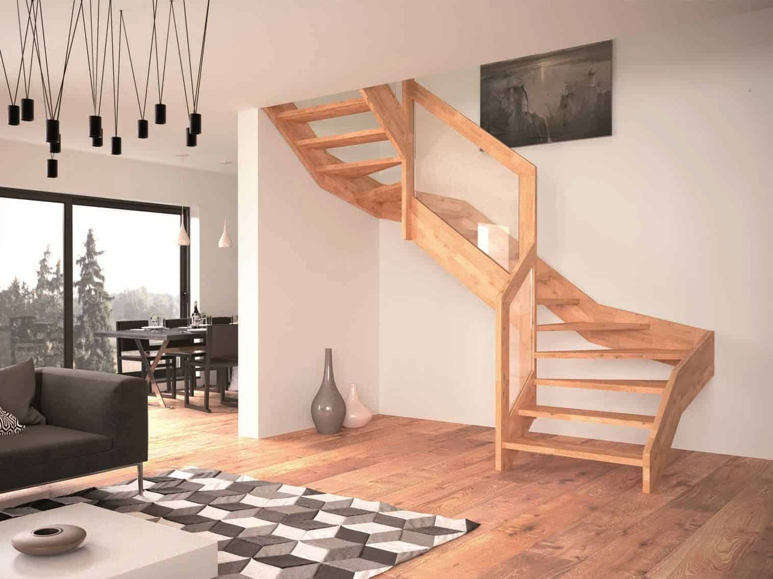 Contemporary Open Wooden Frame Staircases with Glass