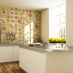 Wall Tile Kitchen Island Casters Top 15 Patchwork Backsplash Designs For View In Gallery Fogazza Millennium Giallo Jpg