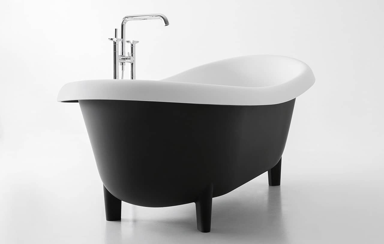 Black Bathtubs for Modern Bathroom Ideas with Freestanding Installation