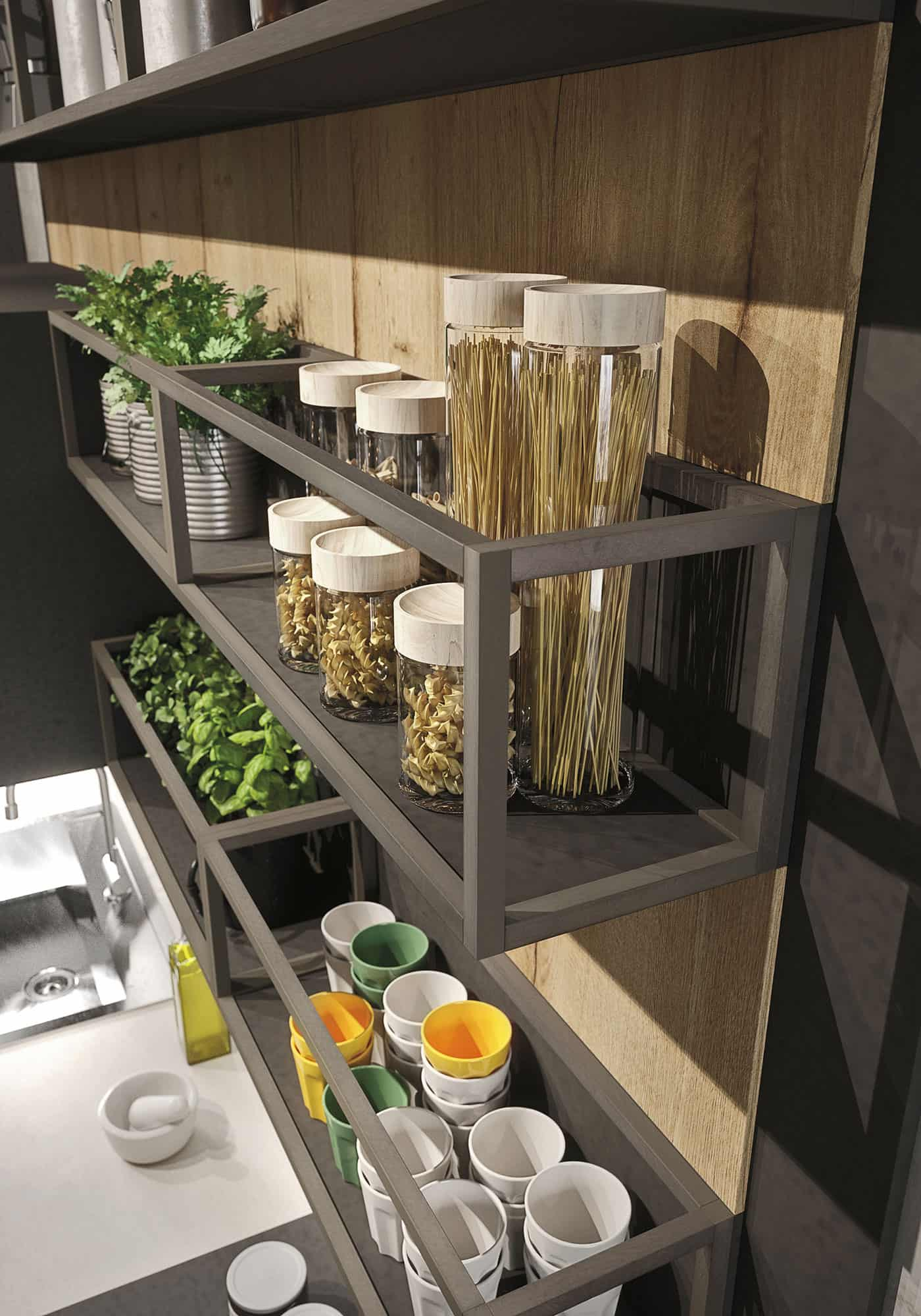 wood shelves kitchen europa cabinets design for lofts: 3 urban ideas from snaidero