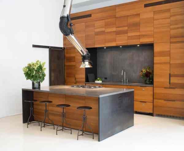 industrial kitchen hood in 2 Kitchens with Unusual Stove Hoods