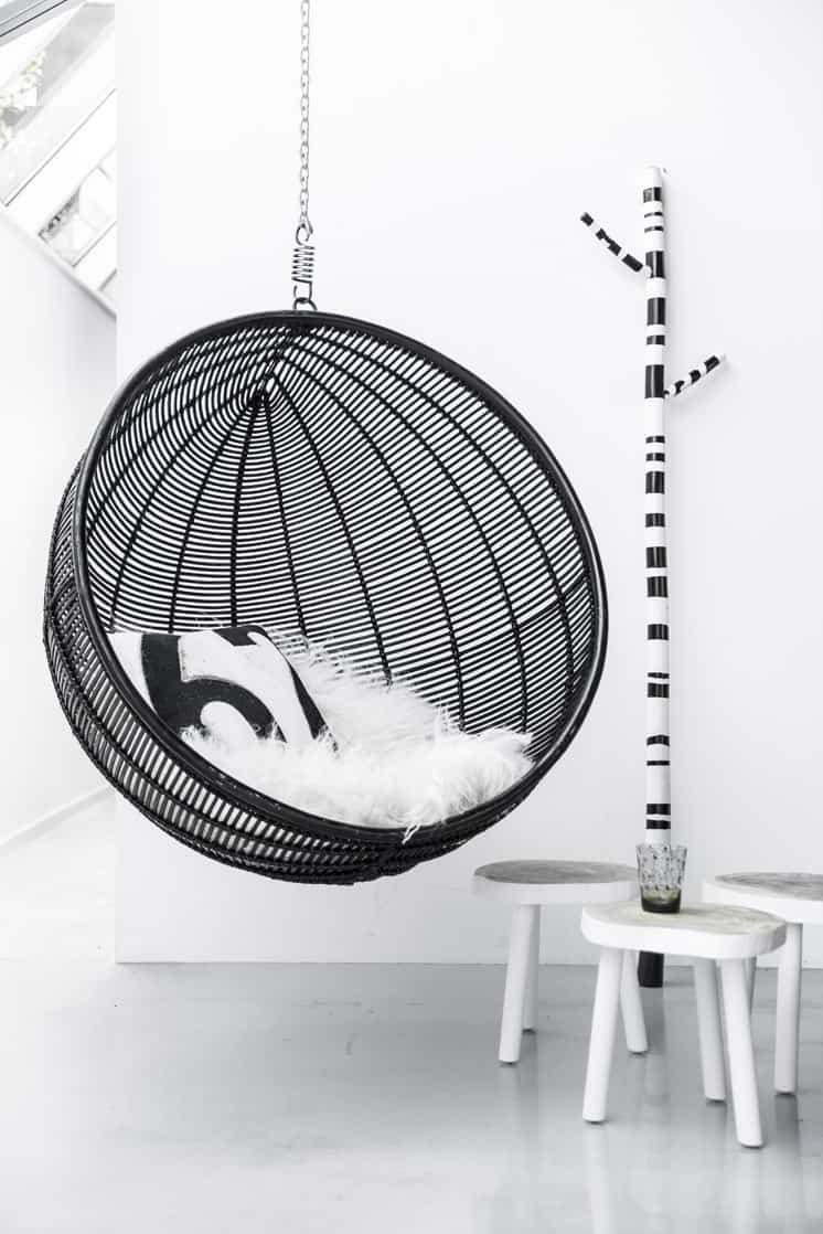 hanging indoor chair two person beach seats 20 fun favorites the ball black through house of orange combines best bubble with rattan to create a and oh so modern