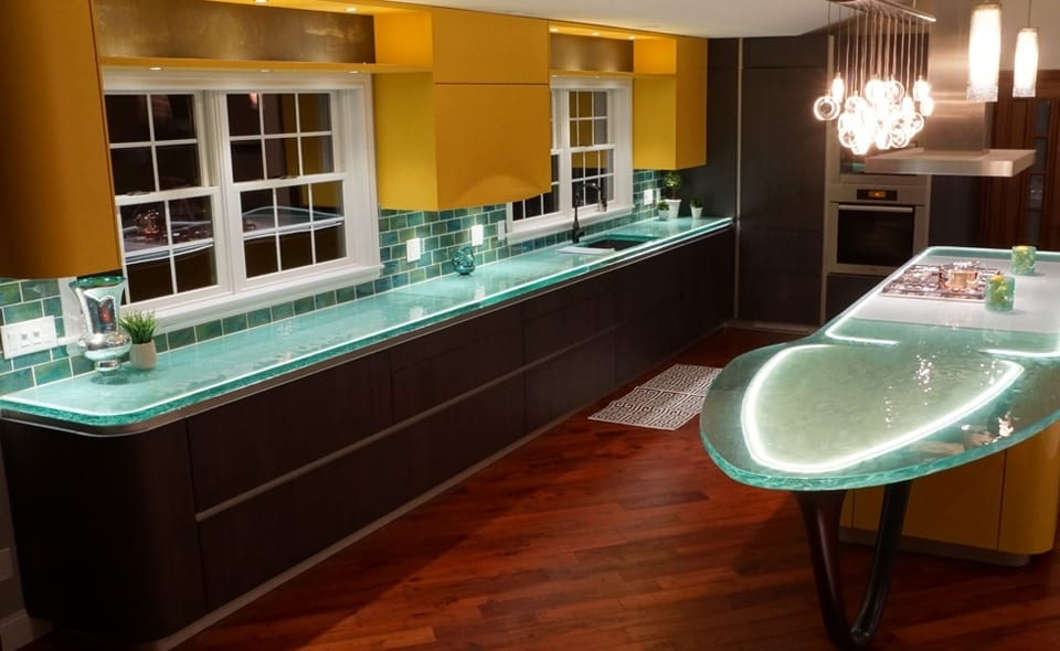 kitchen counters slip resistant shoes modern countertops from unusual materials 30 ideas the recycled glass look especially nice when lit up and subway tile backsplash is a good match