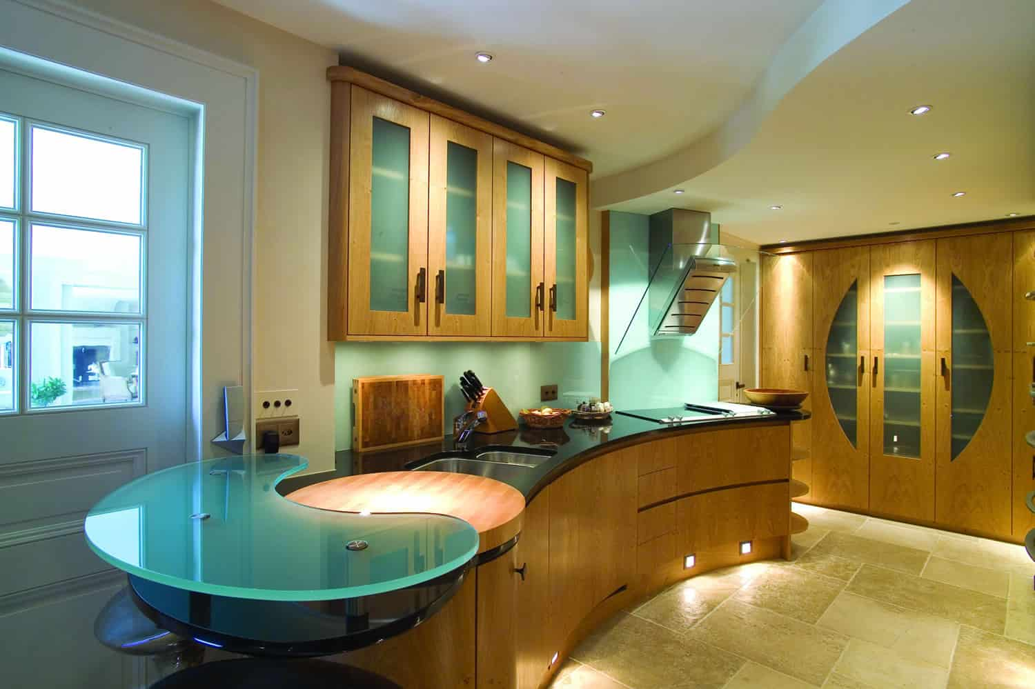how to build your own kitchen island glass door cabinets modern countertops from unusual materials: 30 ideas