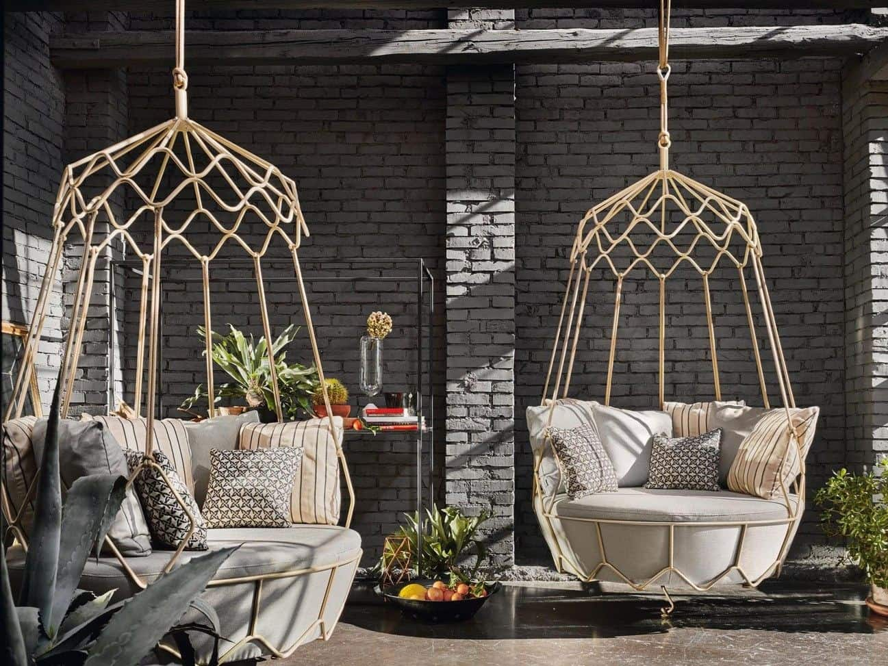 patio hanging chair slipcover for and a half ottoman garden furniture from roberti rattan