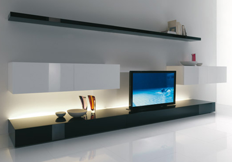 cool living room modern interior for small apartments ideas from acerbis an expanding tv screen 1