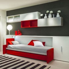 Black And Red Sofa Bed Metal Action With Storage Teen Transformable Modular Furniture From Clei