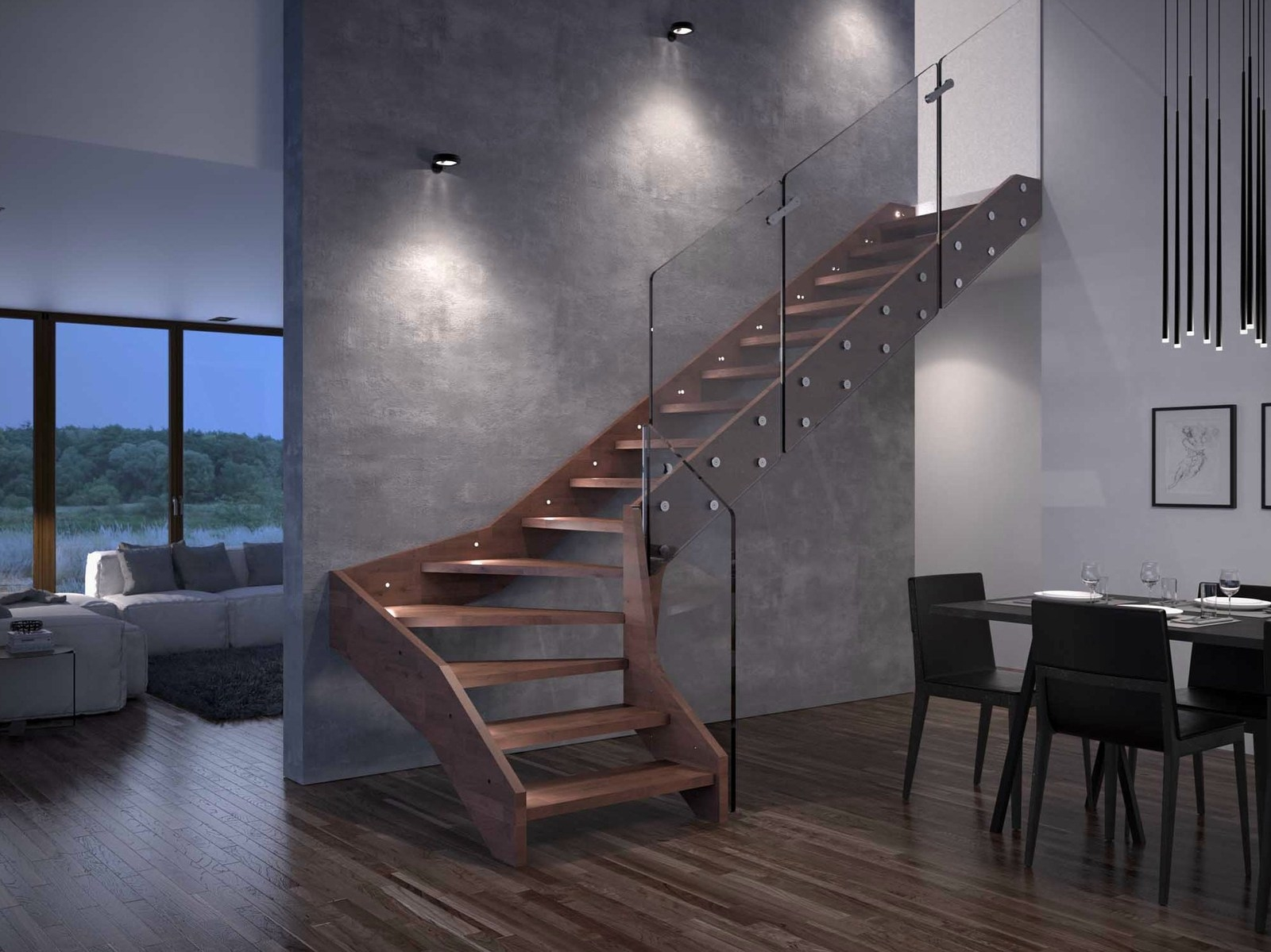 Contemporary Open Wooden Frame Staircases With Glass Railing By   Wooden Staircase With Glass   Oak   Glass Design Golden   Tempered Glass   Unusual Interior   Detail