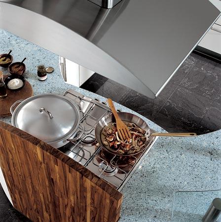 Circular Kitchen from Carma Cucine  new Milea ergonomically shaped kitchen