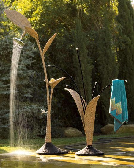 wicker look outdoor shower towel rack