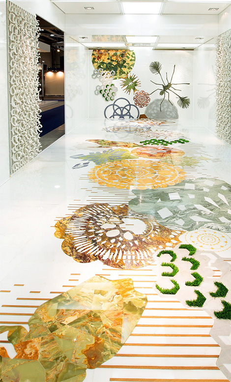 marble inlay flooring and walls by