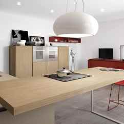 Kitchen Island Table Ideas Waste Bins Minimalist With Red Accents By Comprex