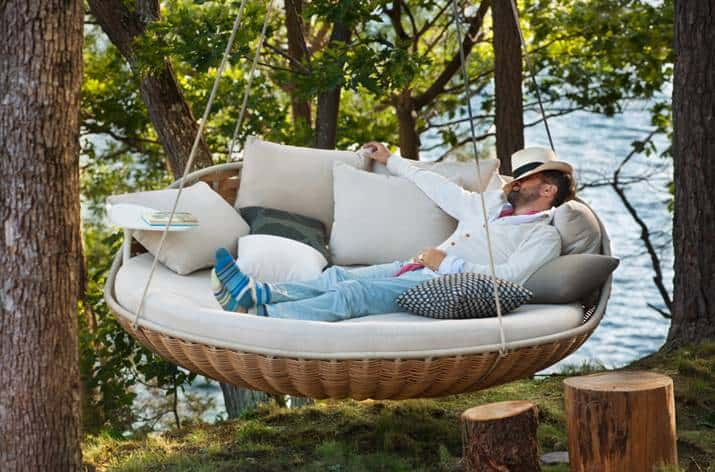 Dedon Swingrest hanging lounger for luxury loafing