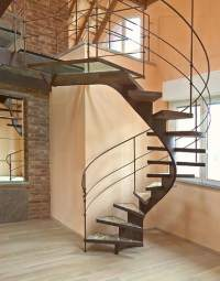 Unique Spiral Staircase by Bonansea - wood chips in the steps