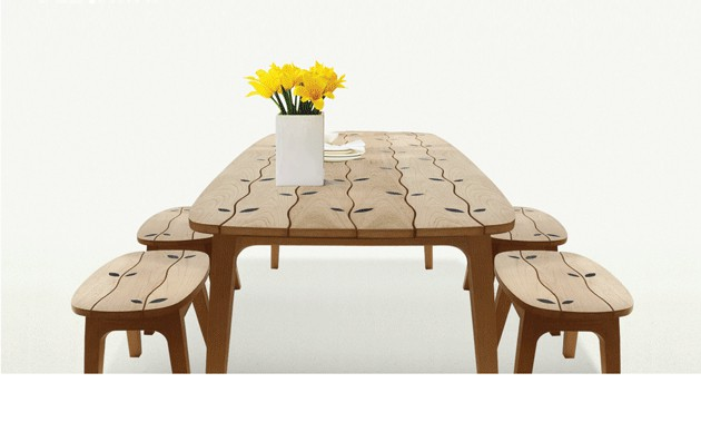Wood Inlaid Dining Table Set for Indoors and Outdoors by Deesawat