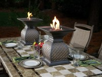 Fire Urns by Agio - outdoor dining centerpiece ideas