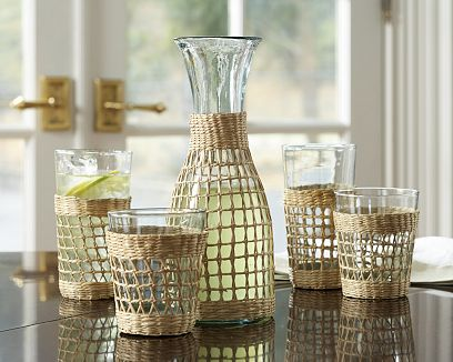 pottery barn butterfly chair personalised makeup tropical drink glasses - weave wrapped glassware