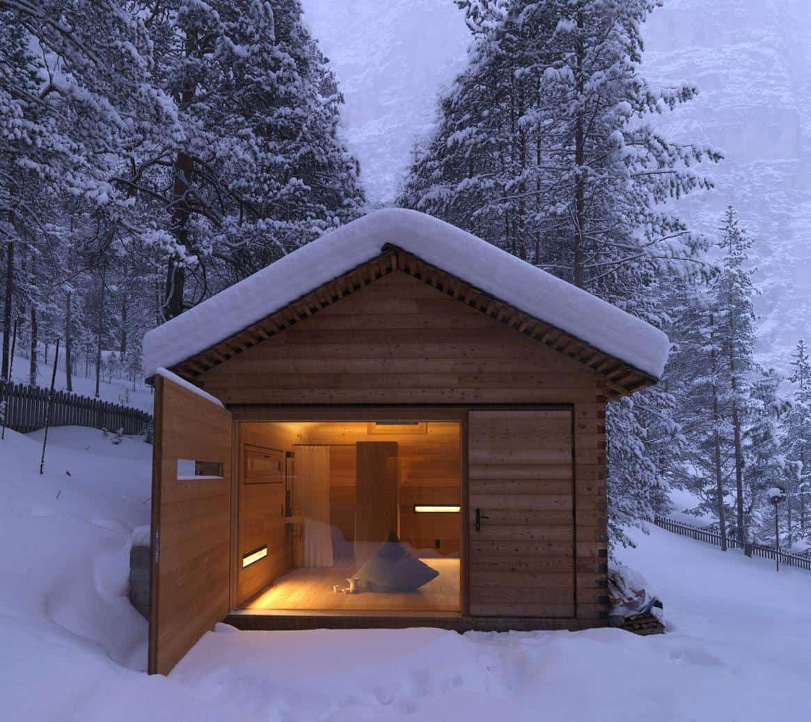 wood flooring for kitchen sink grinder cozy mountain cabin can open up to the elements