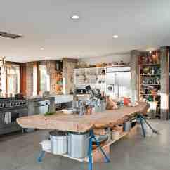 Prefab Kitchen Island Custom Islands Concrete Farmhouse Massive Cypress Slab Table And