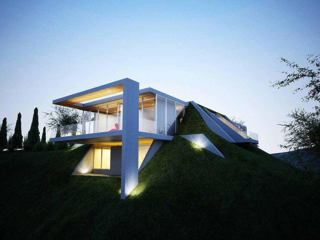 Creatively Semi Buried Home Rises from the Earth like Art