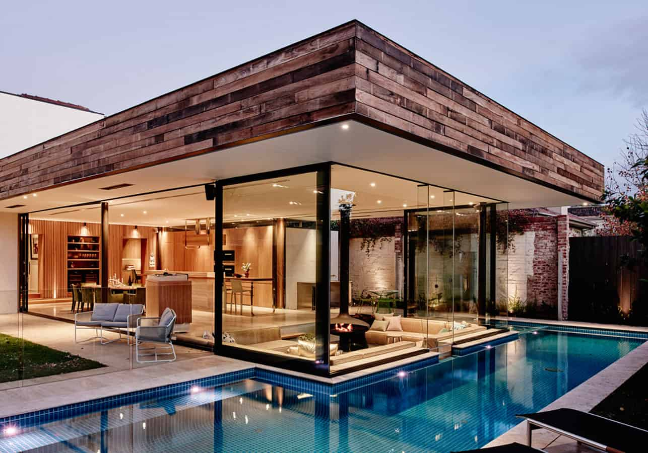 A Sunken Lounge Room Surrounded by a Pool is the