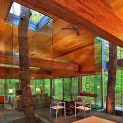 Tiled Living Room Modern Designs In Indian Trees Encased Glass Continue To Grow Through House