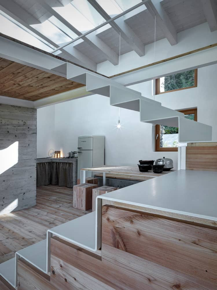 kitchen sink materials island cooktop modern stone cabin in northern italy is a romantic gem