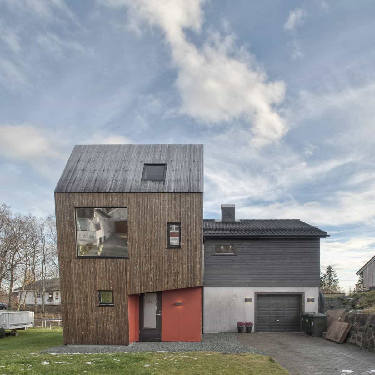 Angular Home Addition With Plywood Lined Interior