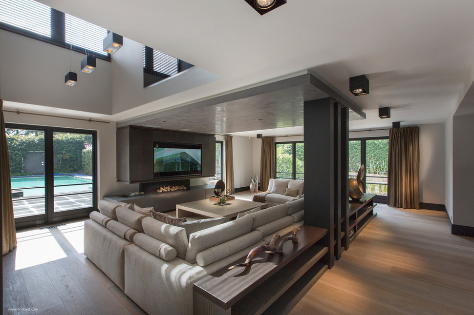 small flat screen tv for kitchen how much remodel custom details create a visual feast in minimalist home