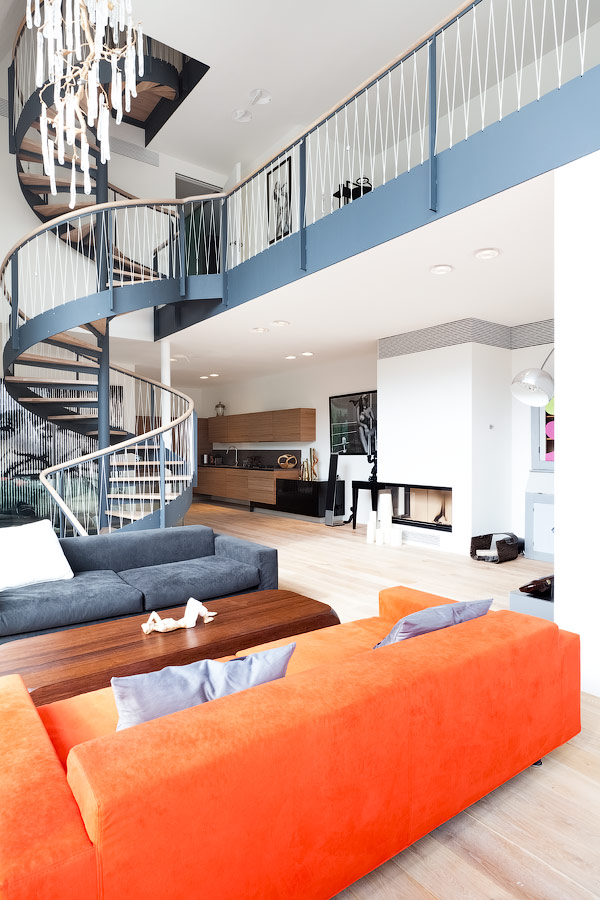 open plan staircase in living room red furniture renovation redefines home with stunning and view gallery 2 thumb 630x945 19120