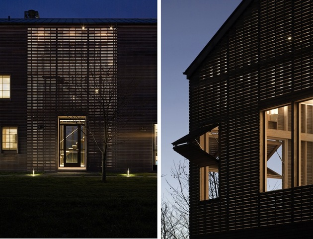 Unusual Barn Style Home With Slatted Wood Siding