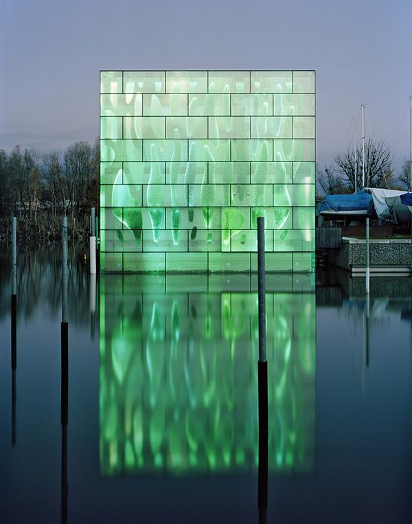 led house illuminates lake constance in