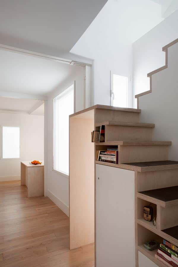 Space Saving Stair Storage Design in Plywood