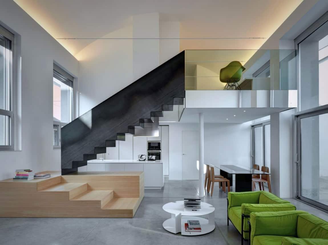 Buratti Architetti Makes Massive Black Metal Staircase Fit