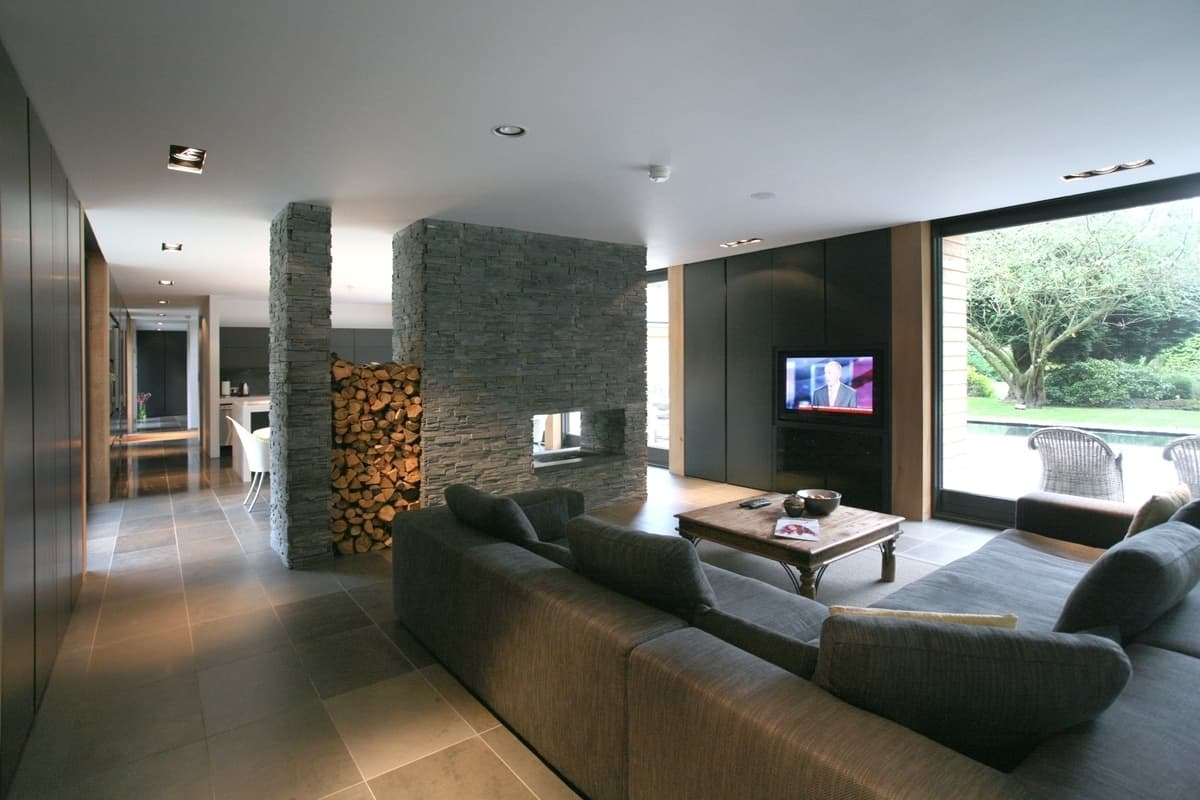 living room fireplace off centered wall tiles for fireplaces as dividers 15 double sided design ideas that s exactly what nicolas tye architects did when they designed this divider in knutsfor house the has a clean look of