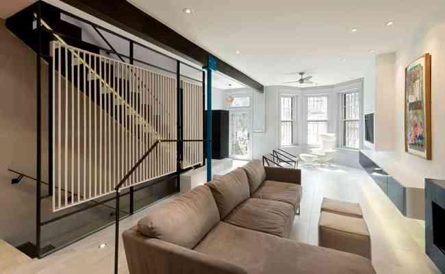 Small Row House Renovation Idea Bold Colors