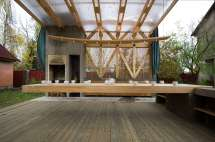 Outdoor Dining Terrace Features Console Table