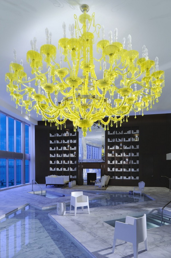 View In Gallery Chamomilla Chandelier Installation By Philippe Starck At Viceroy Miami 1 Bold Decor Idea Yellow