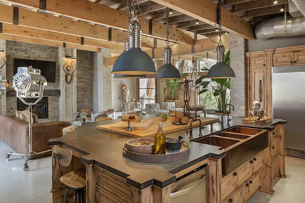 industrial kitchen shelving condo remodel modern eclectic texas interior is full of mix and match ...