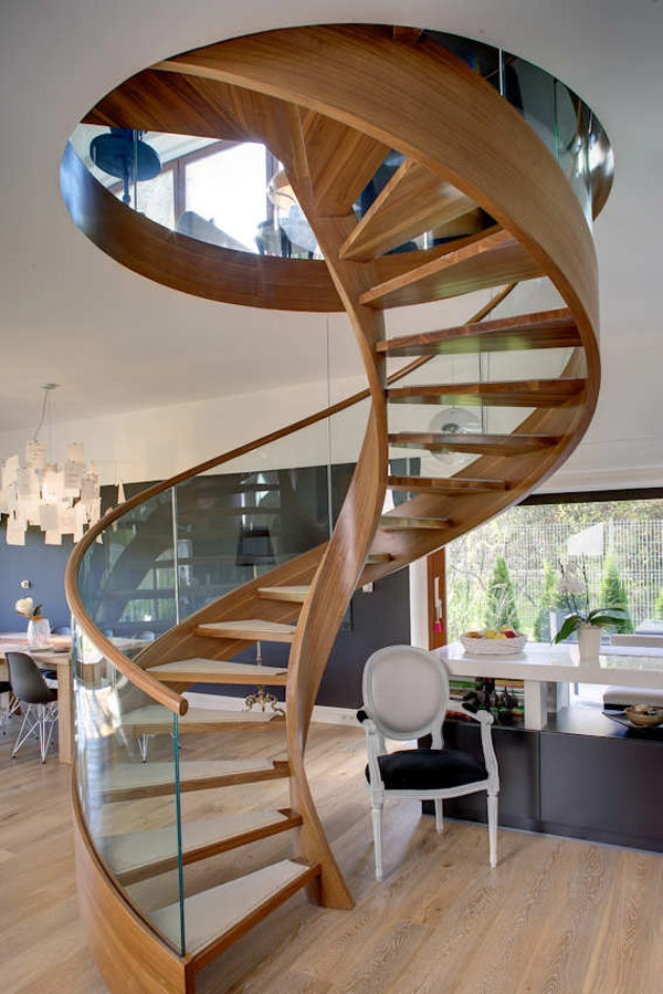 Contemporary Spiral Staircase In Wood And Glass | Spiral Staircase Wooden Steps | 2 Floor | Traditional | Enclosed | Kid Friendly | Solid
