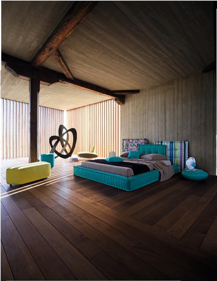 rustic modern aqua bedroom