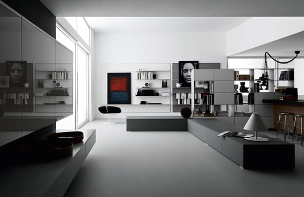 Cafe au lait family room 03:02 the family room's cafe au lait and gray to. Open Space Living Room Designs by Valcucine