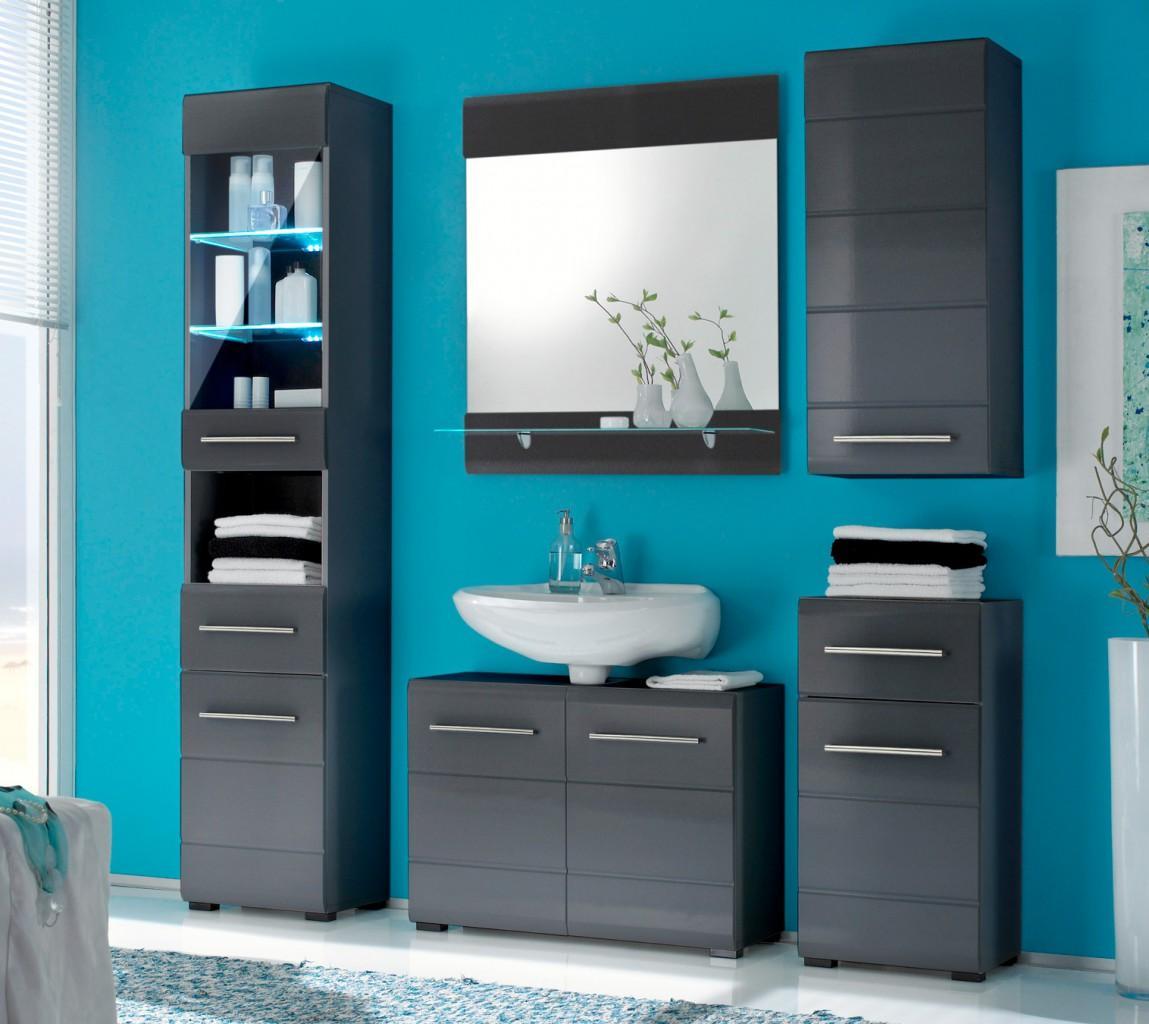 Kommode CHROME BadezimmerUnterschrank 1 Tre 1 Schubl grau metallic