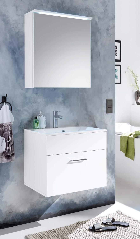 Badezimmer Kommode SPLASH 60 mit Waschbecken 2tlg Set Wei