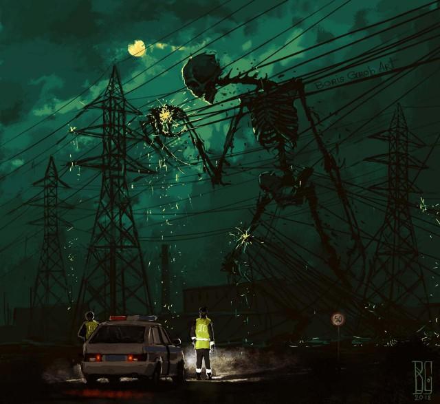 Korku Atmosferiyle dolu Şehir illüstrasyonları (11 figür)